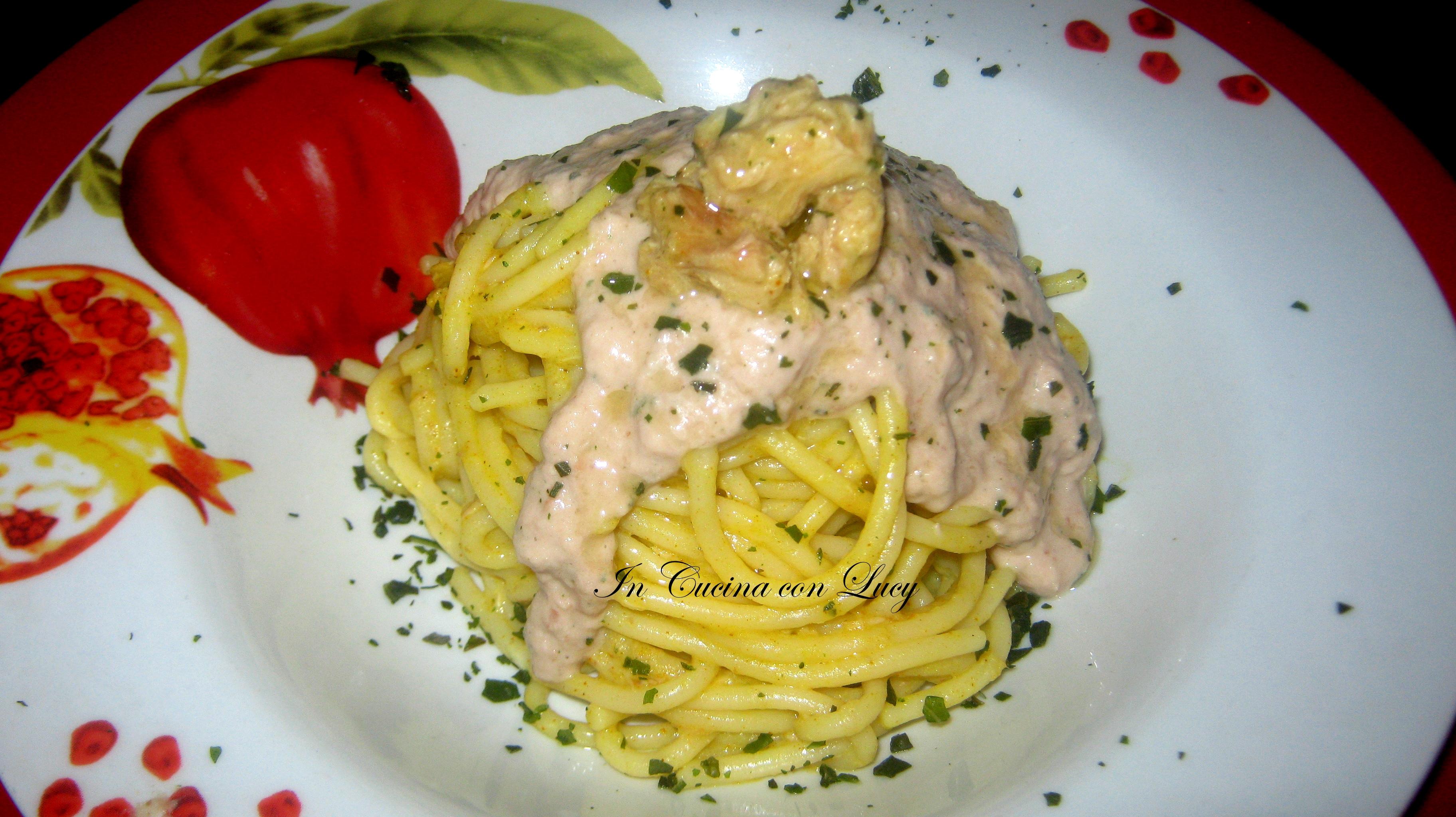 Spaghetti con mousse di tonno e borlotti