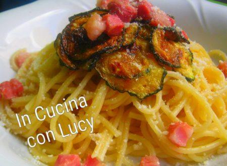 Spaghetti alla nerano con pancetta croccante