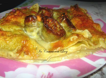 Lasagne ai carciofi e gorgonzola al mascarpone.