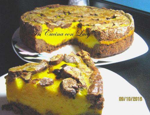 Crostata con farina di riso al cioccolato e crema pasticcera.