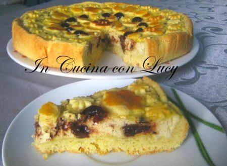 Crostata all'olio con ricotta,cioccolato e amarene.