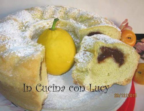 Ciambella al limone farcita con marmellata di pesche e cioccolato
