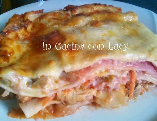 Lasagne al cavolo rosso,melanzane e salmone