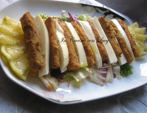 Stick di zucchine,patate,mozzarella gratinate al forno