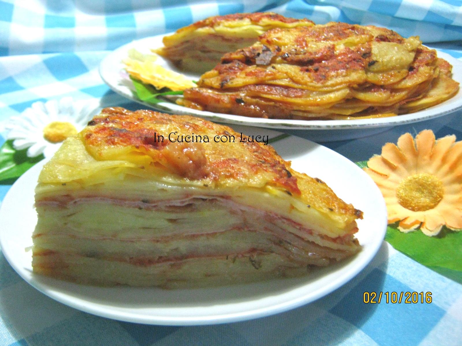 Lasagne di patate con prosciutto e emmental