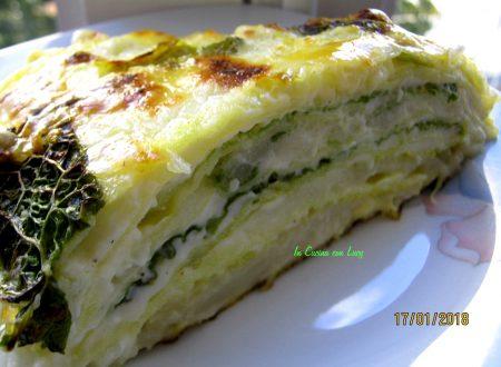 Lasagne ai due cavoli (verza e cavolfiore)e emmenthal.